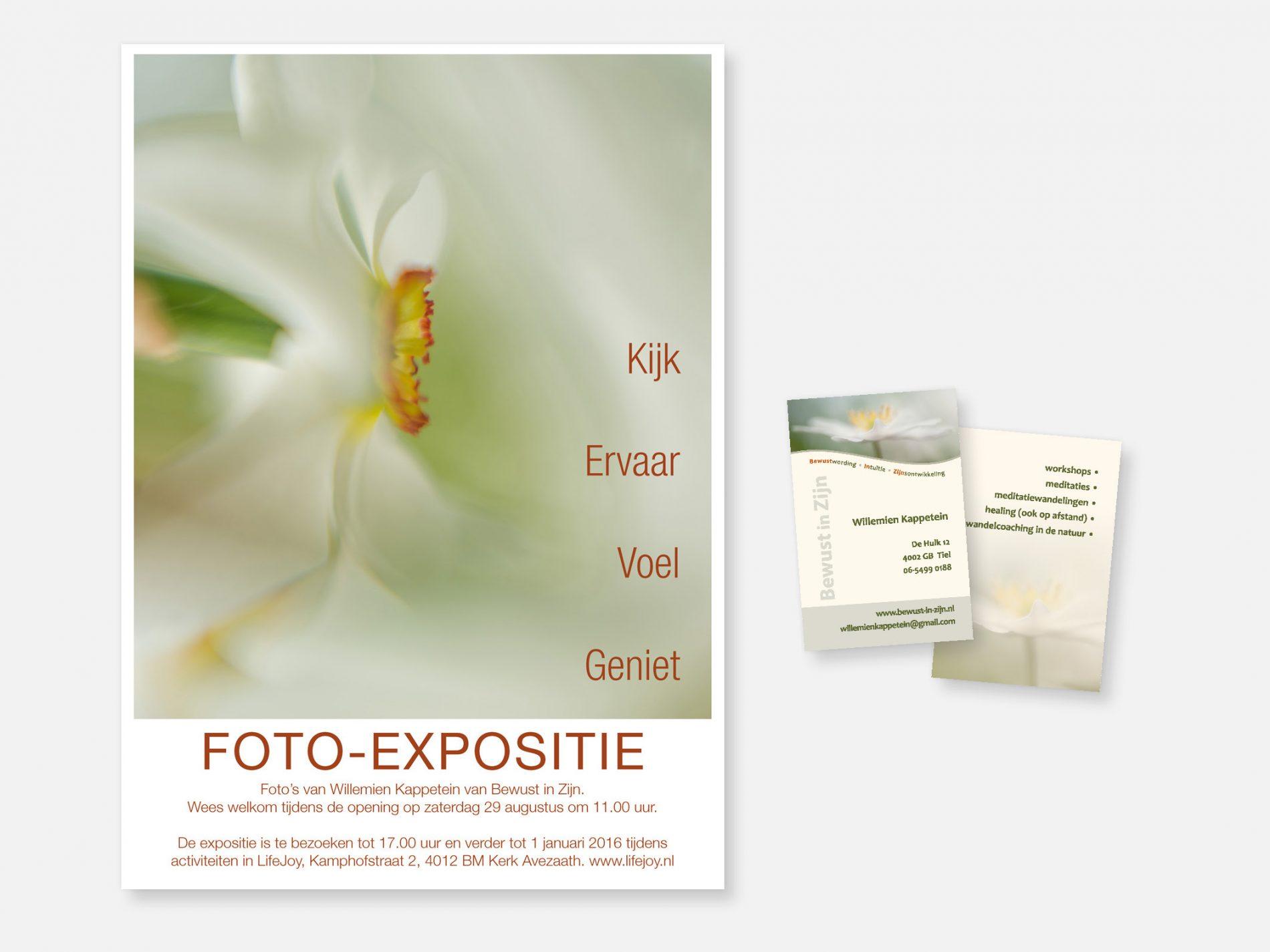 Raamposter expositie en visitekaartje