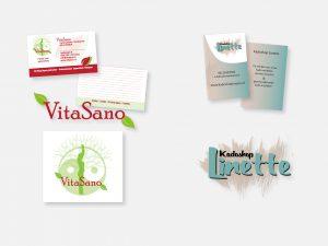 Logo ontwerp en visitekaartjes voor VitaSano en Kadoshop Linette