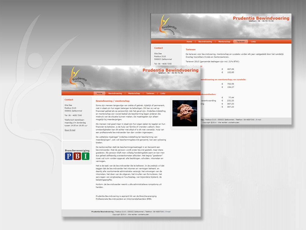 """Webdesign """"Prudentie Bewindvoering"""" met CMS"""